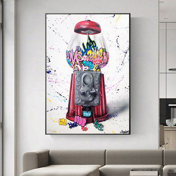 Dulces Graffiti Wall Art HD Printed Cute Game Red Pictures Canvas Home Decor Modular Painting No Frame Cuadros For Living Room image