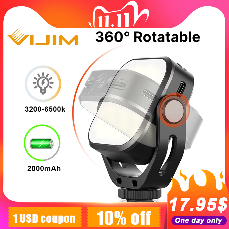 VIJIM VL66 luz LED para vídeo en la Cámara u-stand y Softbox 360 ° Rotable Mini recargable CRI95 + 3200K-6500K LED Luz de relleno de la cámara