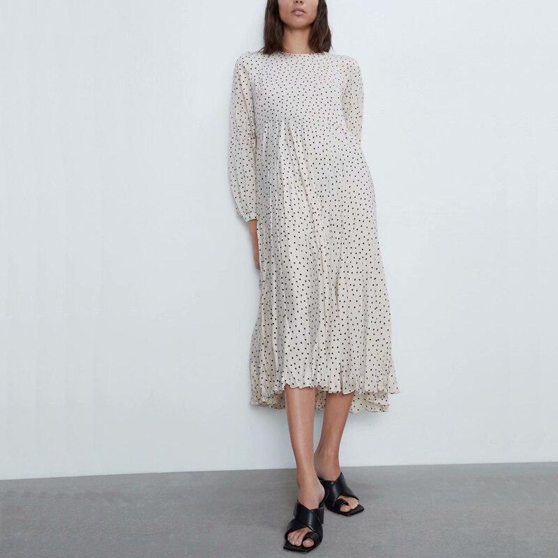 Spring women dress casual dot printed round neck long-sleeved loose dress Vestidos