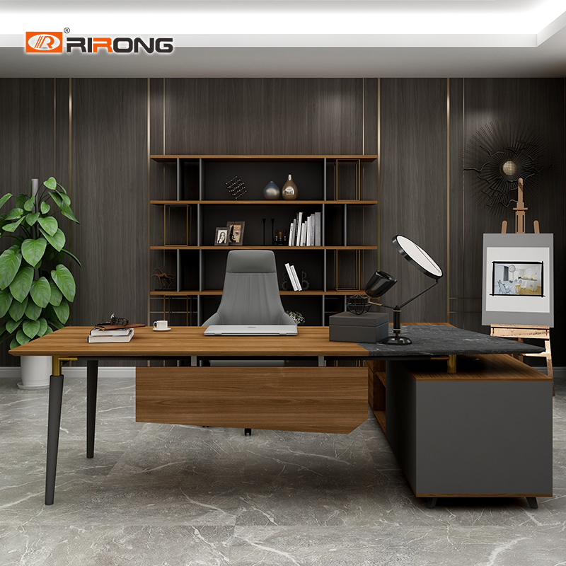 Home Laptop Study Table Desk Personal Office Design Furniture Walnut Wooden Office Furniture Set Custom Office Table Desk Set