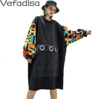 Vefadisa Autumn Letter Pullovers Sweatshirt Dress O Neck Long Sleeve Sweatshirt Pacthwork Casual Sweatshirt Woman 2019 QYF768