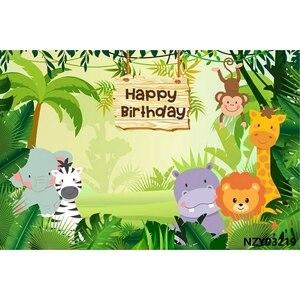 Image 3 - ג ונגל 7x5ft ספארי מסיבת יום הולדת אישית מילות שיחת וידאו פוסטר תינוק דיוקן תמונה תפאורות רקע צילום