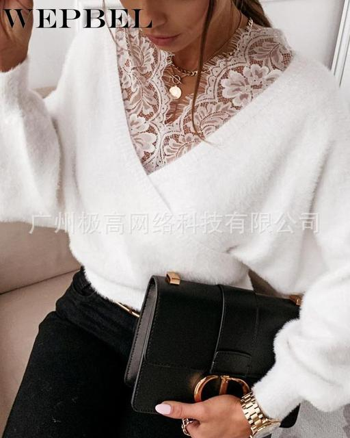 WEPBEL Women's Casual Long Sleeve Lace V-neck Patchwork Pullover Tops Autumn Winter Fashion Solid Color Plush Tops 2