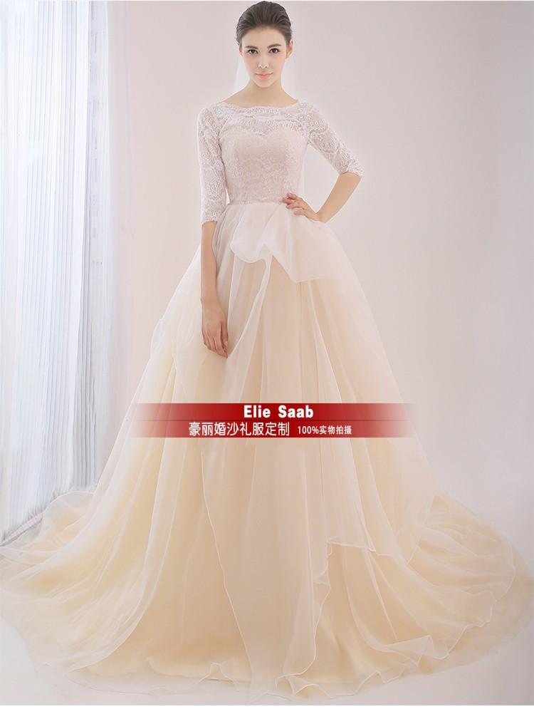 Bridal Gown Bride Romantic New Fashionable Sexy Organza Sleeves Vestido De Novia Casamento Lace Wedding Dress 2016 Free Shipping