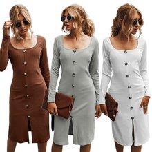 Женское осеннее сексуальное винтажное платье с квадратным вырезом