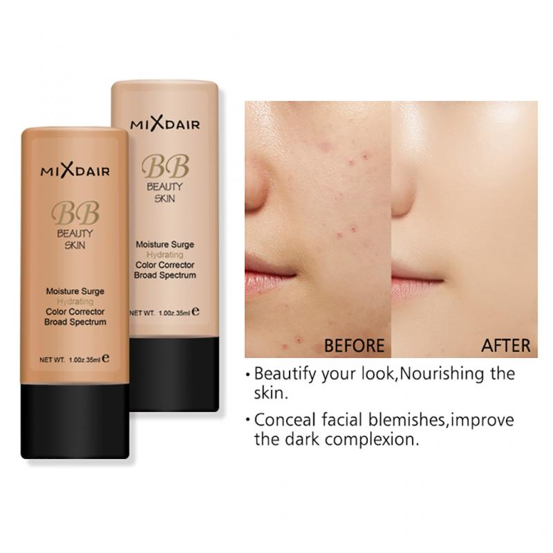 MIXDAIR 4 Colors Makeup Base Primer Face Oil-control Foundation Liquid Whitening Brighten Skin Color Waterproof Concealer TSLM2
