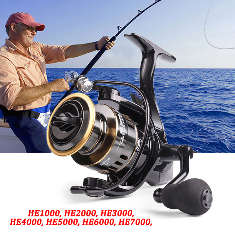 Full Metal Spool Fishing Reel HE1000-7000 Drag Max10kg Reel Fishing 5.2:1 High Speed Spinning Reel Saltwater Reel