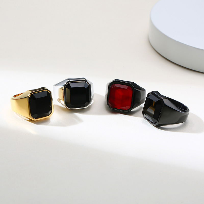 Купить с кэшбэком DIGNIFIED BLACK CARNELIAN STAINLESS STEEL GOLDEN SQUARE SIGNET RING FOR MEN PINKY RINGS MALE WEALTH AND RICH STATUS JEWELRY