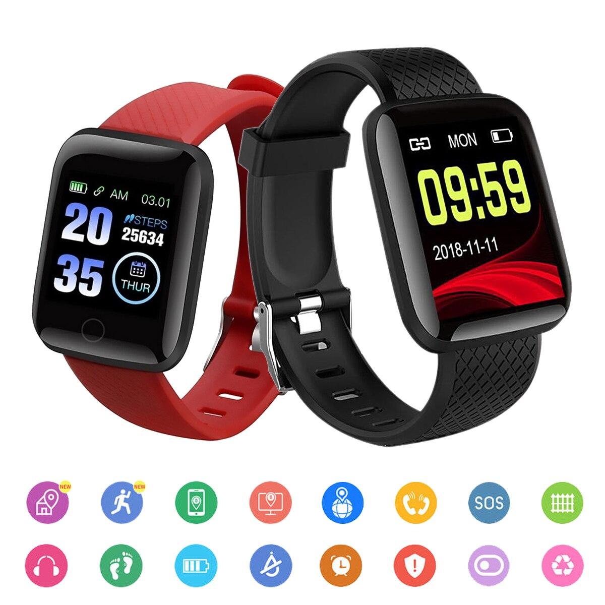 Relógios inteligentes 116 mais freqüência cardíaca relógio inteligente pulseira esportes relógios banda inteligente à prova dwaterproof água smartwatch android tudo compatível