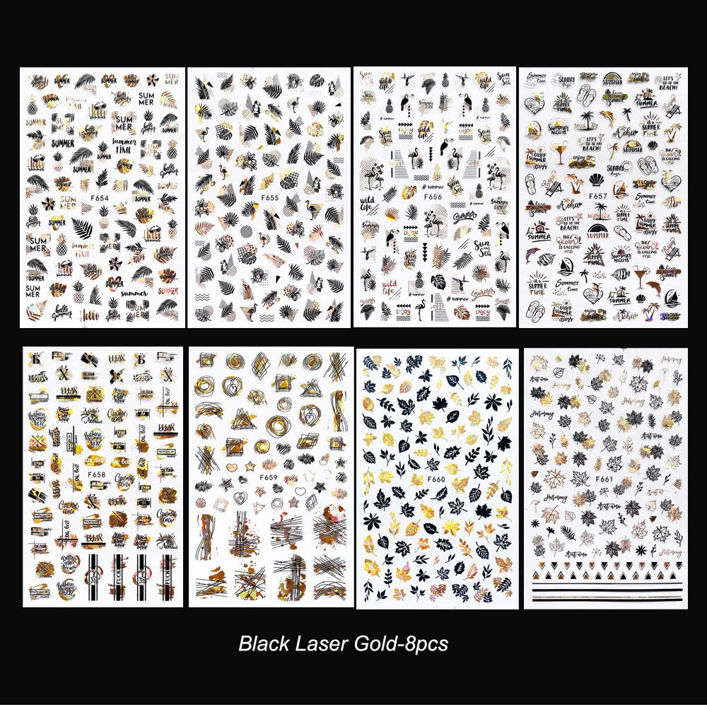 Набор 3d наклеек для ногтей лазерные переводные наклейки золотистого