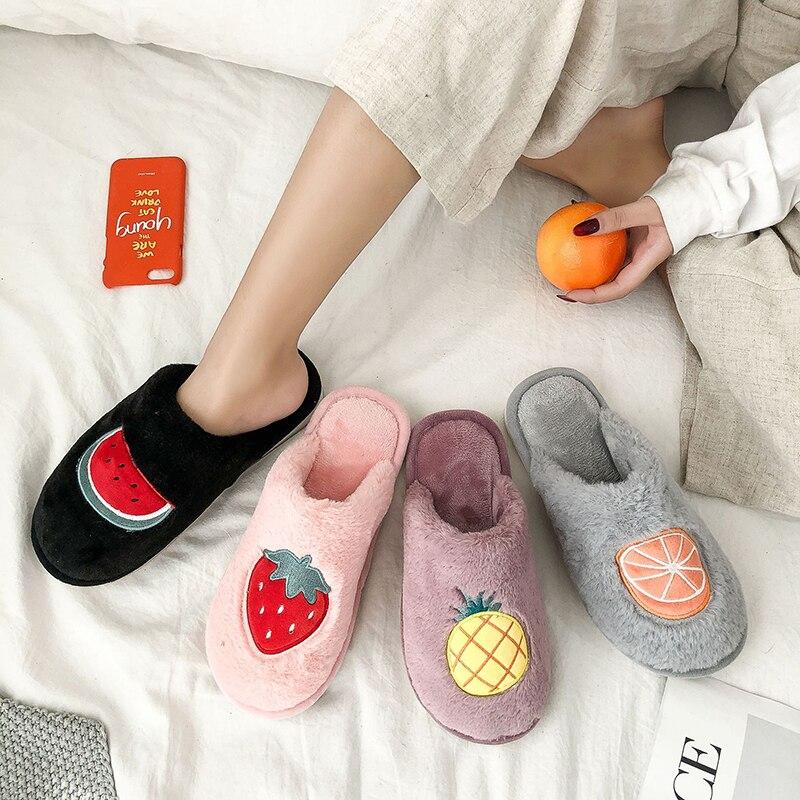 SWQZVT Indoor furry slippers women 2020 fruit print bedroom fur slides women shoes non-slip flat soft house floor female slipper (12)