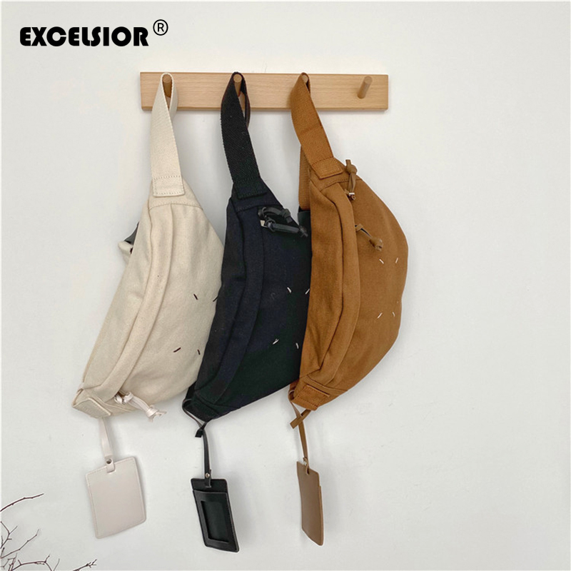 EXCELSIOR 2020 New Fanny Pack Waist Bags Corduroy Belt Chest Bag Sport Casual Women's Messenger Canvas Chest Pochete Homem