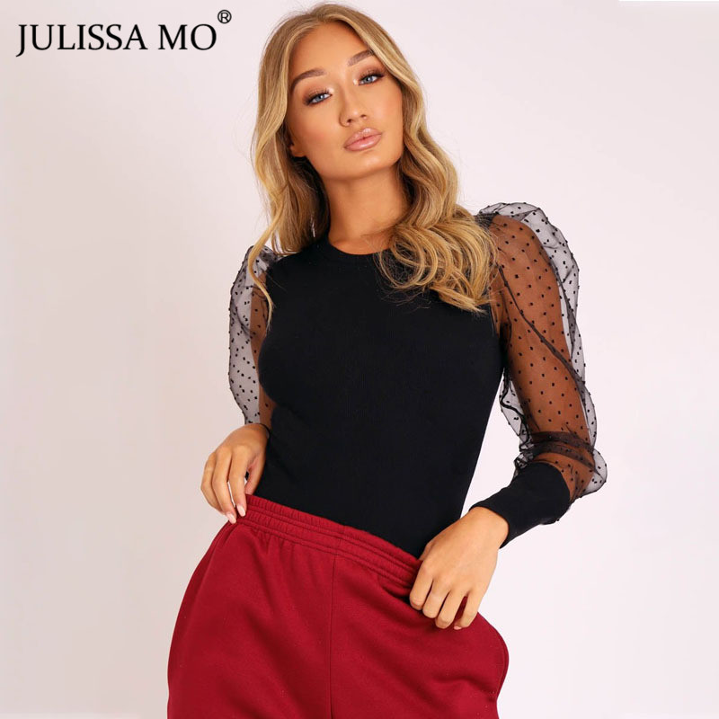 JULISSA MO Black Dot Mesh Sleeve Sexy Bodysuit Women Tops 2019 Autumn Sheer Lace Skinny Rompers Elegant Office Ladies Bodysuits