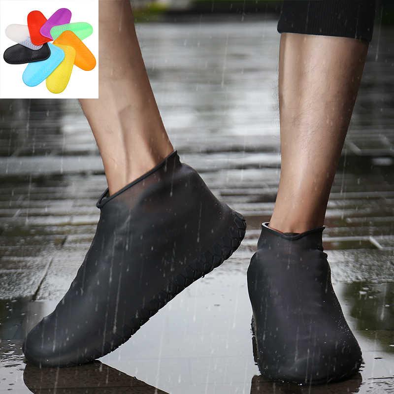 Kalınlaşmak Ayakkabı Kapak Silikon Jel Su Geçirmez yağmur ayakkabıları Kapakları Yeniden Kullanılabilir Kauçuk Esneklik Galoş kaymaz Çizmeler için Koruma