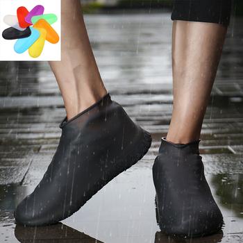 Zagęścić pokrowiec na buty żel silikonowy kalosze wodoodporne pokrowce wielokrotnego użytku gumowe sprężyste ochraniacze antypoślizgowe na buty Prot tanie i dobre opinie COOLVFATBO Shoes Covers Waterproof Buty covers Stałe Poliester