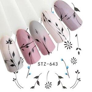 Image 1 - 1 sztuk biały czarny paznokci naklejki woda kalkomanie transferowe dekoracje Dream Cather suwak do paznokci DIY porady LASTZ634 658