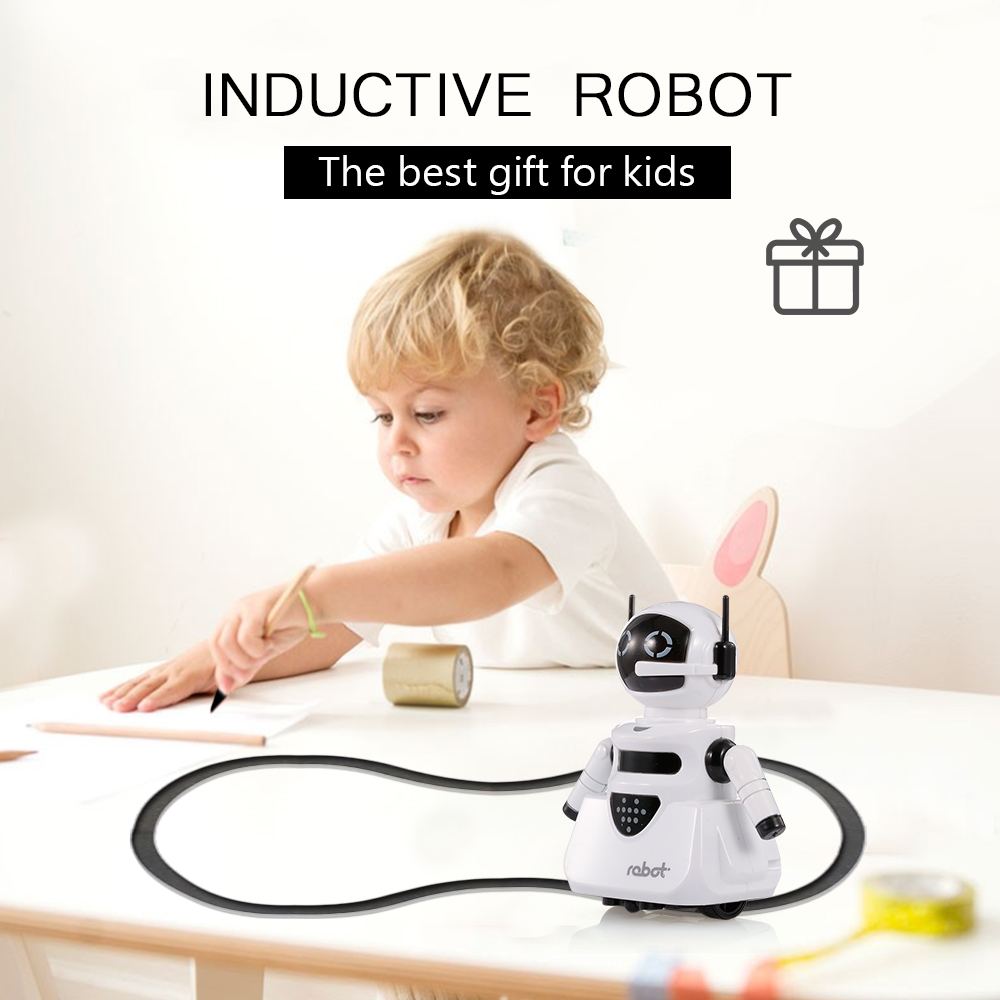 Inductive Mini Robot for Kids Smart Toy Pen Draw Lines Optional Sensor Rail Car Truck Gift for Kids
