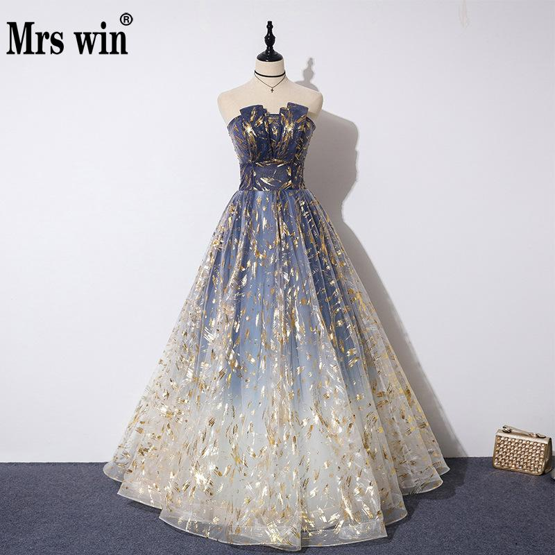 Mrs Win Formal Evening Dress 2020 The Sexy Strapless A-line Party Prom Dresses Evening Dresses Long Plus Size