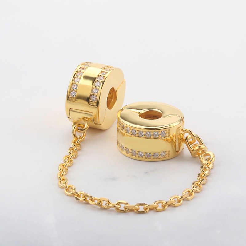 משלוח חינם אותנטי 925 כסף סטרלינג בטיחות שרשרת עלה זהב קסמי Fit מקורי פנדורה צמיד לנשים DIY תכשיטים