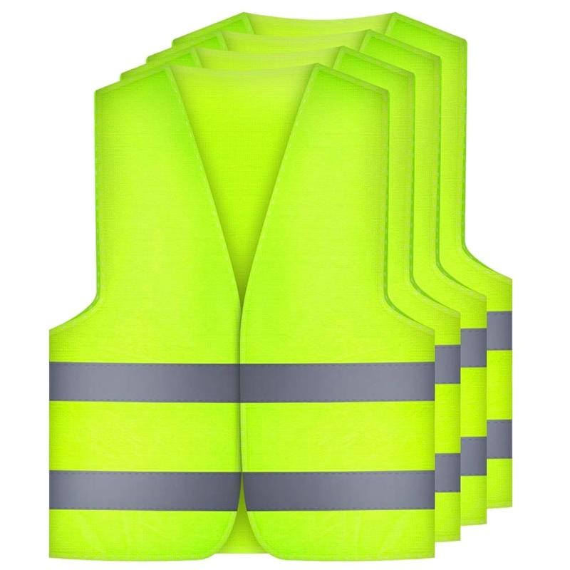 NEW-4 Pcs. Safety Vests Car Puncture Vest Safety Vest, Safety Warning Vest En 471 With 360 Degree Reflective Stripes And Buckle,