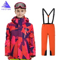 Kids Winter Ski Sets Children Snow Suit Coats Ski Suit Outdoor Boys Skiing Snowboarding Clothing Waterproof Jacket + Pants