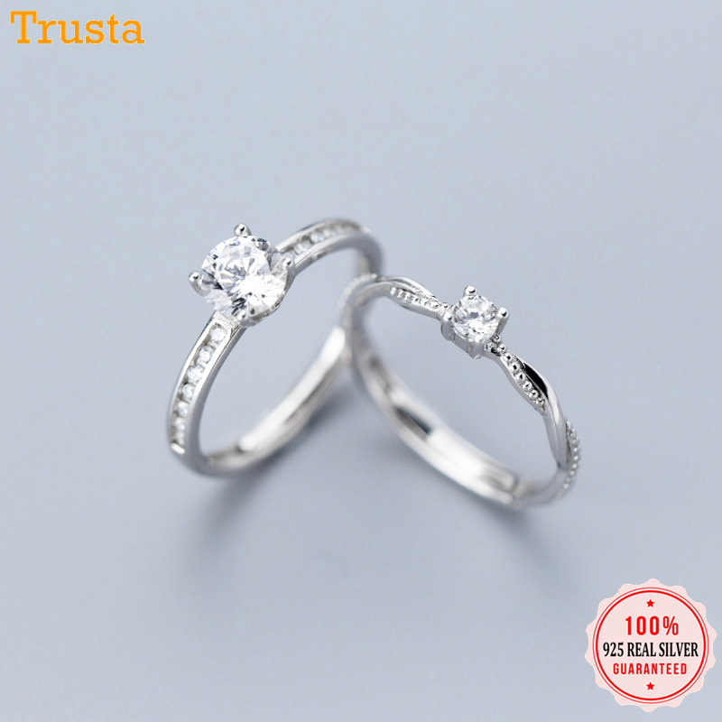Trustdavis Genuine 925 Sterling Silver Simple Cute Dazzling Square CZ Open Finger Ring For Women Gilr Silver 925 Jewelry DT09