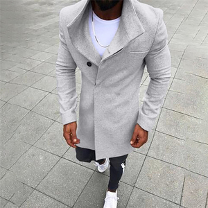 Fashion Video Mens Wool Jacket Button Solid Long Sleeved Windbreaker Woolen Coat Fall Winter Overcoat Men Thin Long Trench Coat(China)
