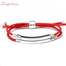 925 Sterling Silver Handmade Pink Red Black Rope Custom Name Bracelet Engraved Date Letter Two Layers Personalized Woman Jewelry