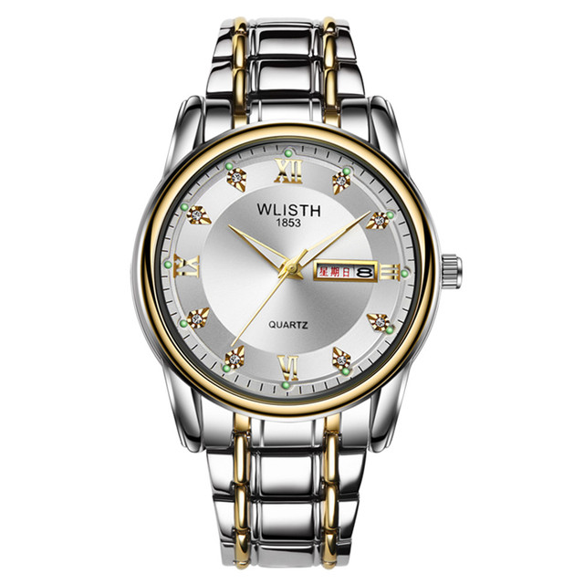 WLISTH Men's watch waterproof luminous week display calendar alloy with double calendar quartz st retro wrist watch | Fotoflaco.net