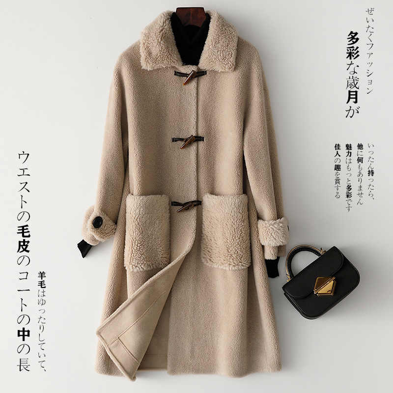 Real Fur Coat Autumn Winter Coat Women Clothes 2020 Sheep Shearling Real Wool Coat Female Korean Long Jacket HK39205