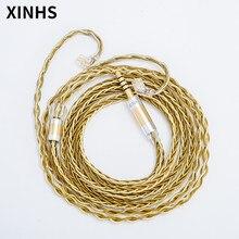 Przewód słuchawek XINHS 8 rdzeń z pojedynczego kryształu miedziane pozłacane MMCX/2 PIN/QDC/TFZ ulepszony kabel do słuchawek