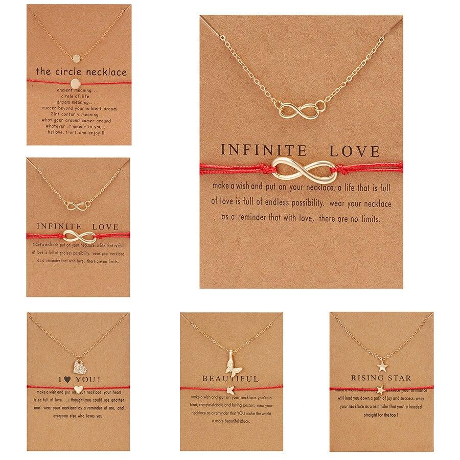 2pcs/set Wish Card Jewelry Set Together Forever Love Infinity Bracelet & Necklace Set Red String Couple Bracelets for Lover Gift