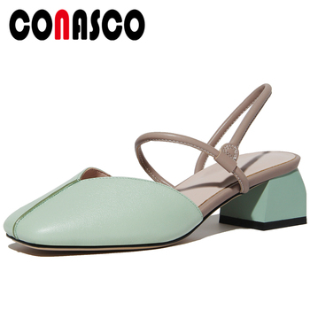 CONASCO Summer New Fashion Concise Casual Genuine Leather Women Sandals Pumps Narrow Band Square Toe Thick Heels Shoes Woman
