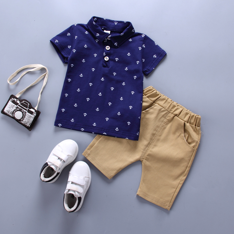 Summer New Printed Short-sleeved Suit Baby Walker Boy Clothes Boat Print Anchor T-shirt Tops Shorts 2 Pieces Of Casual Clothes