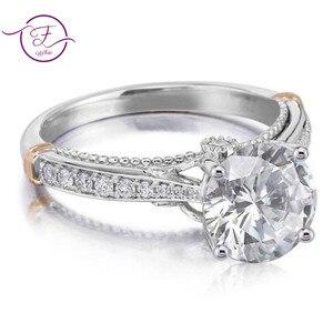 Image 3 - 14 585 ホワイトとローズゴールド 2 トーン 1ct 6.5 ミリメートルefカラーモアッサナイトの結婚指輪女性のための