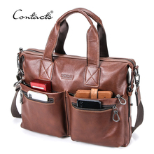 CONTACT'S Business Men Briefcase Vegetable Tanned Leather Man Laptop Bag Brand Male Shoulder Messenger Bags Tote Design Maleta все цены
