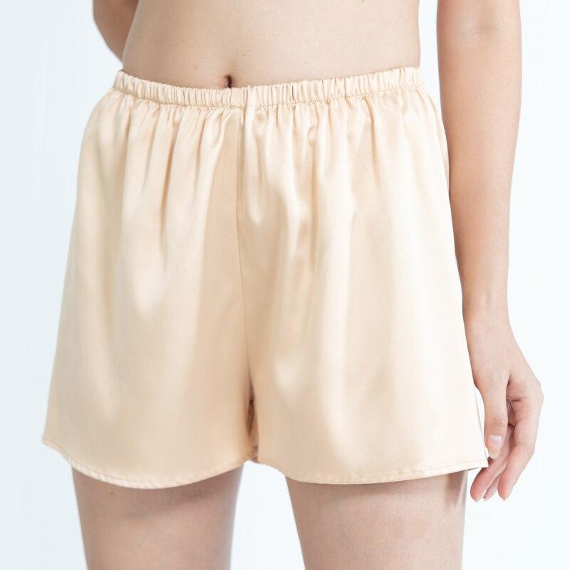 100% натуральный шелк атласные брюки Мопс одежда для отдыха пижамные брюки шорты для сна шелковые шорты для сна Боксер женские шорты безопасности