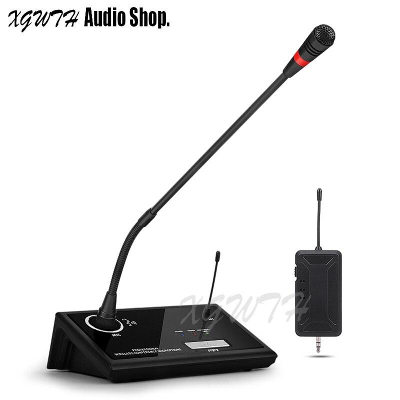 UHF беспроводной микрофон с гибким штативом конденсаторный микрофон с настольным передатчиком и мини перезаряжаемый приемник для обучения ...