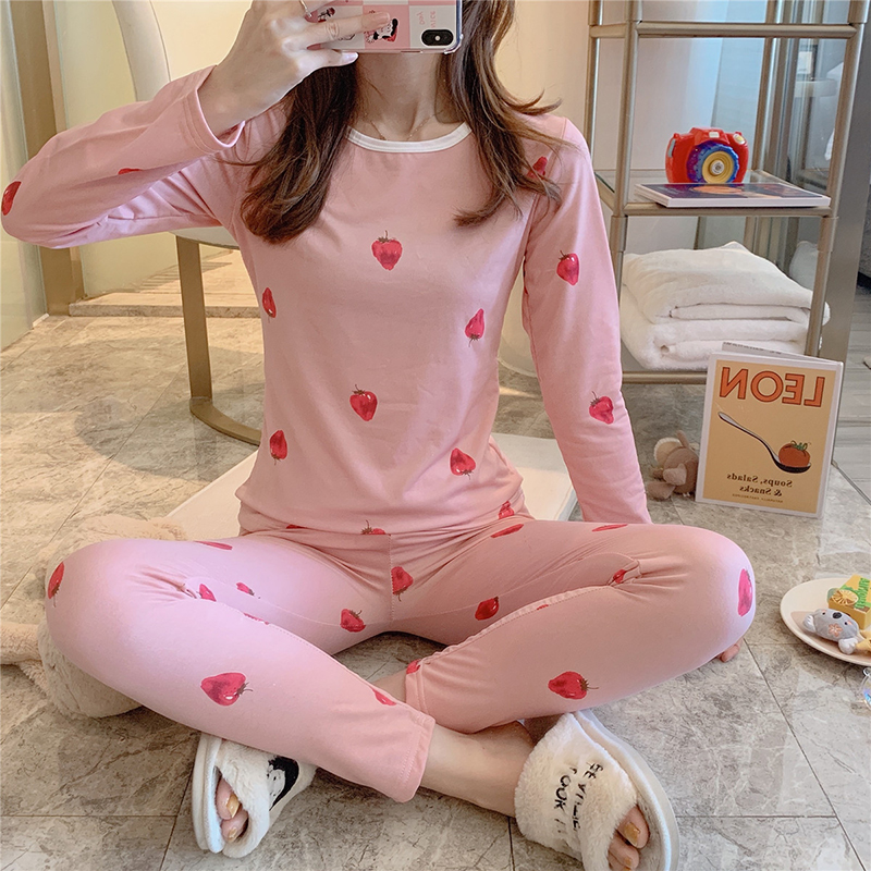 2019 Autumn Winter Long Johns Lace Keep Warm Cute Pink Strawberry Print Mid-Rise Womens Thermal Underwear Girl Thermal Underwear