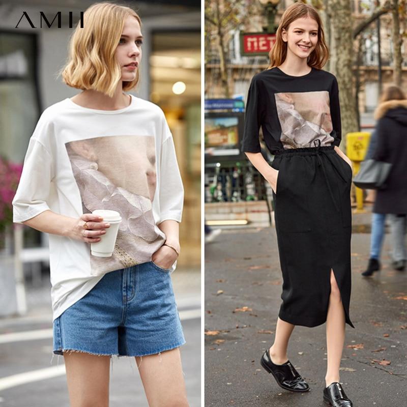 Amii Minimalist Women T Shirt Spring Summer New Solid O Neck Loose Printed Streetwear Female Tops Tee 11930095