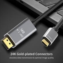 Usb c para displayport 1.4 cabo thunderbolt 3 para dp cabo 8k @ 60hz 4k @ 144hz xdr para macbook pro 2018 2017 dell xps huawei companheiro 30