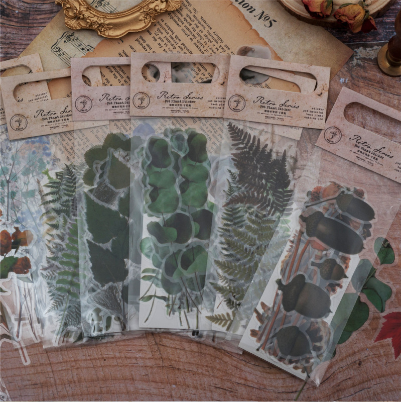 Mohamm 20 PCS Institute Of Botany Dried Flower Set Series Paper Bag Creative Sticker Flakes Material Stickers