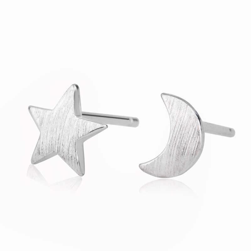 XIYANIKE 925 סטרלינג כסף קוריאני סגנון כוכב ירח פשוט Stud עגילים לנשים הקטן אופנתי אוזן חישוקי אסימטריה תכשיטים