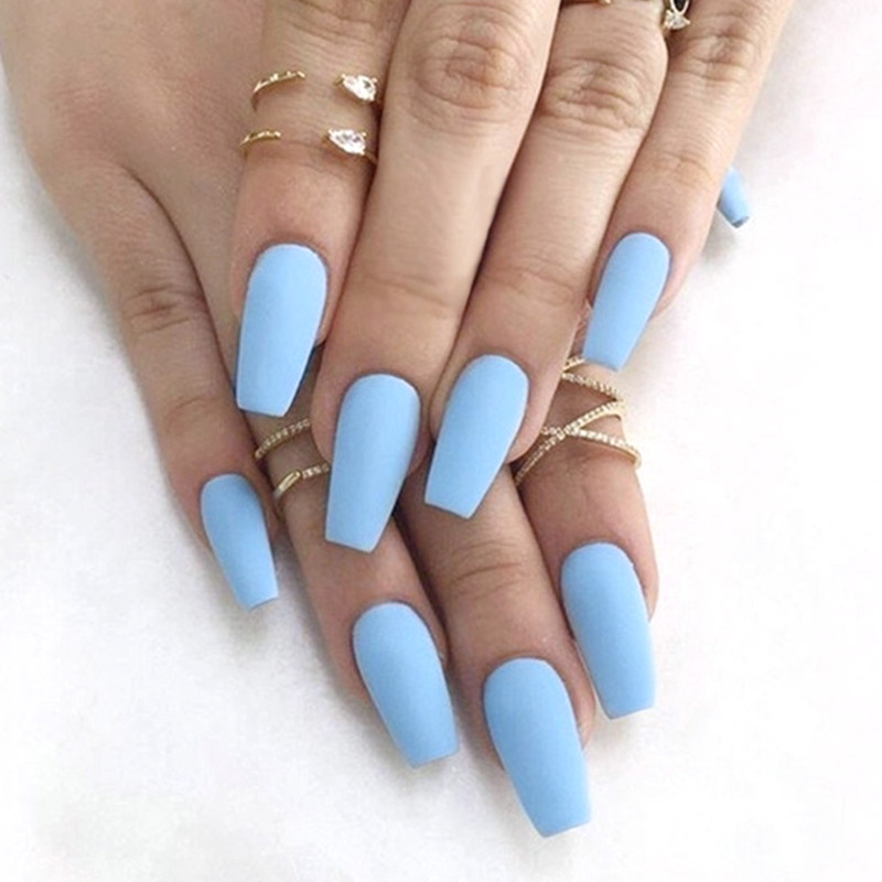 24Pcs Blue Color <font><b>Matte</b></font> Fake <font><b>press</b></font> <font><b>on</b></font> <font><b>nails</b></font> Europe and the United Stated Beam Style Long Square Head acrylic fake <font><b>nail</b></font> with glue image
