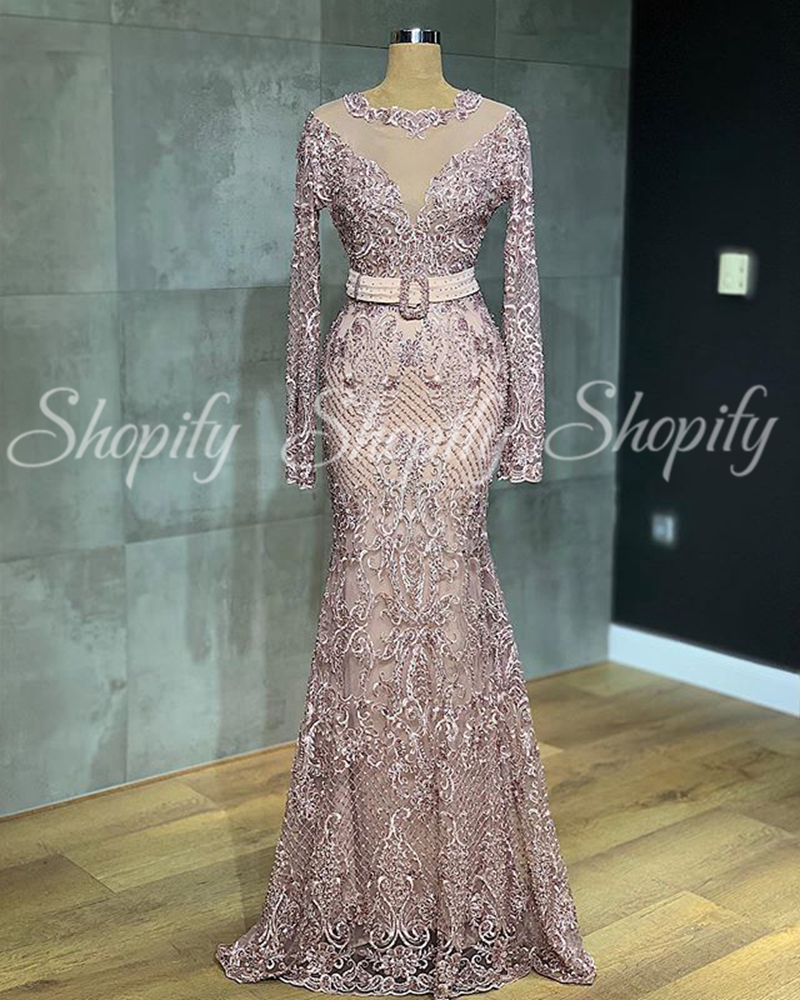 Real Picture Long Evening Dresses 2020 Elegant Mermaid Long Sleeve Beaded Embroidery Dubai Women Pink Formal Gowns