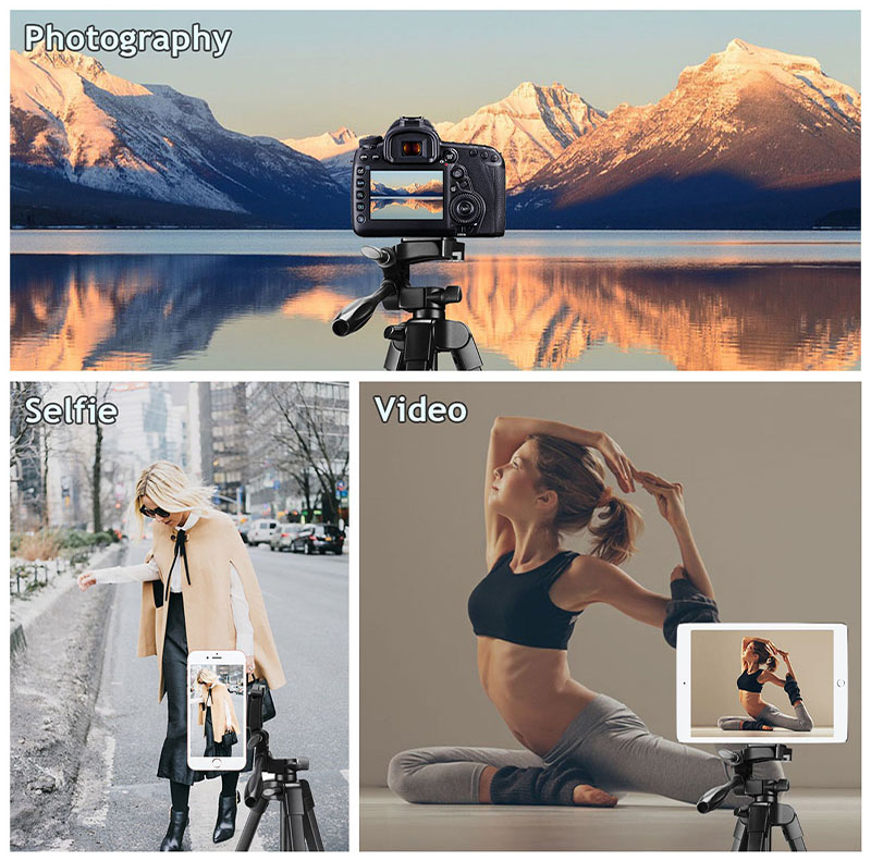 Phone Tripod 60-Inch with 2 in 1 Mount Holder & remote control for iphone/ipad/Gopro/DSLR Camera, with Carry Bag for Travel 3