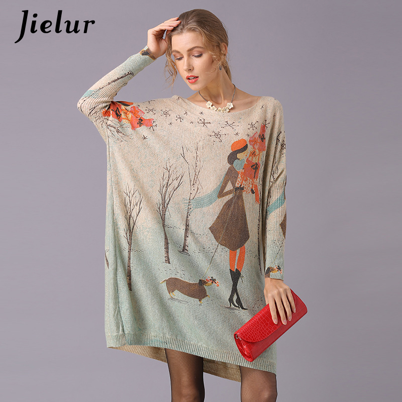Jielur Cartoon Printed Sweater For Women Plus Size Long Sleeve Kawaii Knitted Sweaters Spring Autumn Funny Pullover Basic Jumper