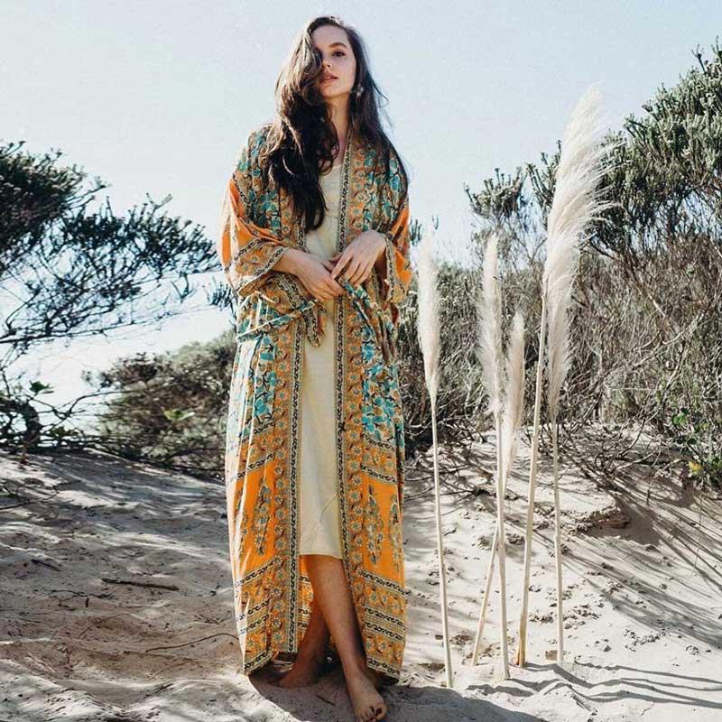 2018-women-s-Wrapped-boho-dress-floral-print-summer-dresses-V-neck-3-4-kimono-sleeve (3)