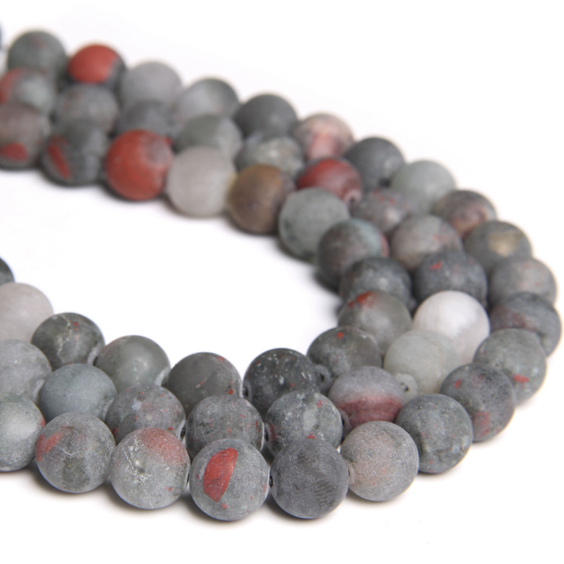 Natural bloodstone Stone Frosted <font><b>Beads</b></font> Matte Round Loose Spacer <font><b>Beads</b></font> 4 6 8 10 12MM For Jewelry Making bracelet necklace <font><b>bulk</b></font> image