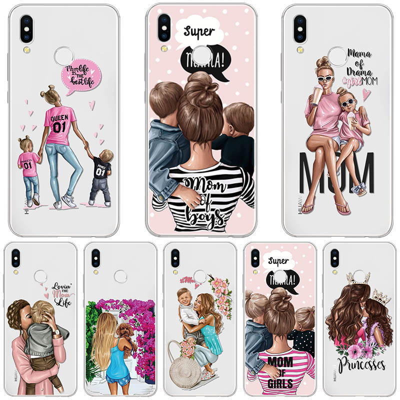 Black Brown Hair Baby Mom Girl Case For Huawei P20 P30 P40 Mate 20 30 10 Pro P Smart Plus P10 P9 P8 Lite E 2019 2017 Case Coque(China)